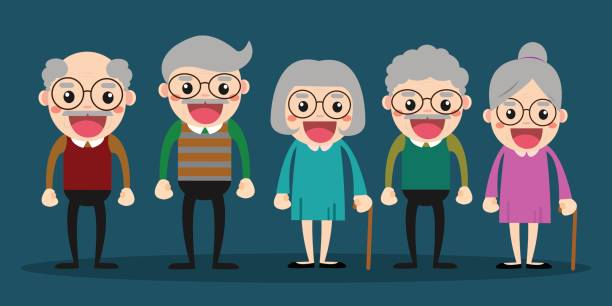 group of elderly people stand together on background. vector illustration in creative flat vector character design - old man glasses cartoon stock illustrations, clip art, cartoons, & icons