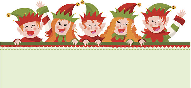 Group of elves with sign vector art illustration