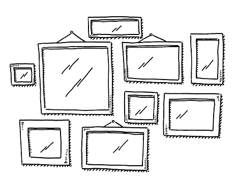 Group Of Empty Picture Frames Drawing