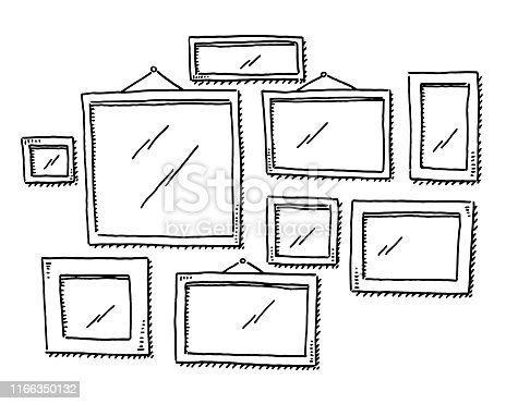 Hand-drawn vector drawing of a Group Of Empty Picture Frames. Black-and-White sketch on a transparent background (.eps-file). Included files are EPS (v10) and Hi-Res JPG.