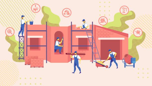 bildbanksillustrationer, clip art samt tecknat material och ikoner med grupp ingenjörer bygga ny byggkonstruktion - construction workwear floor
