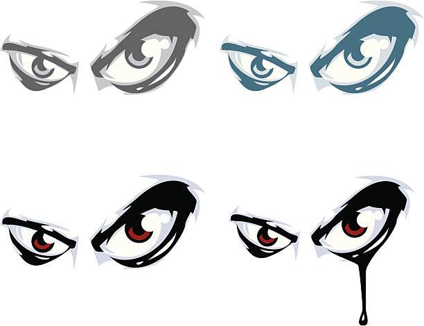 illustrazioni stock, clip art, cartoni animati e icone di tendenza di gruppo di male gli occhi - malvagità