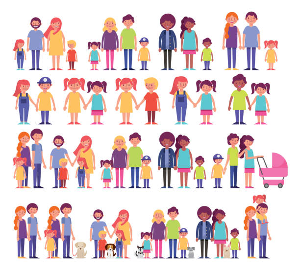group of family members characters vector art illustration