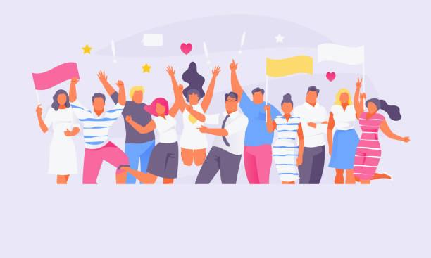 stockillustraties, clipart, cartoons en iconen met groep van fans vector - cheering