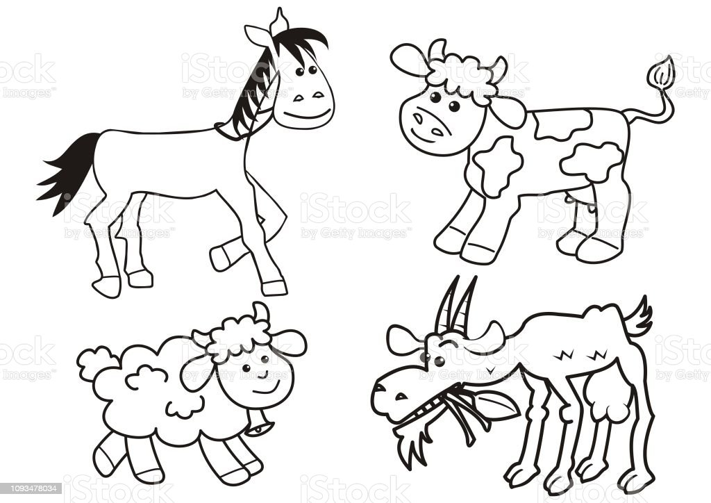 Group Of Farm Animals Coloring Book Stock Vector Art & More Images ...