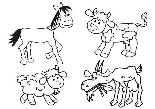 Group Of Farm Animals Coloring Book Stock Illustration