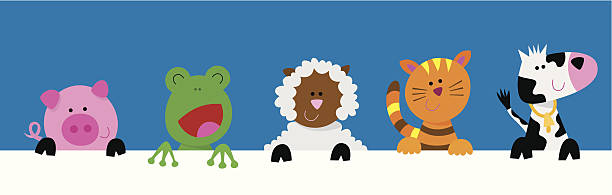 Group of farm animals holding a blank sign vector art illustration