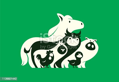 vector illustration of group of farm animals silhouette