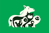 group of farm animals silhouette