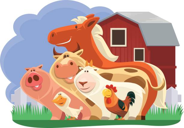 Group Of Farm Animals Vector Art Illustration