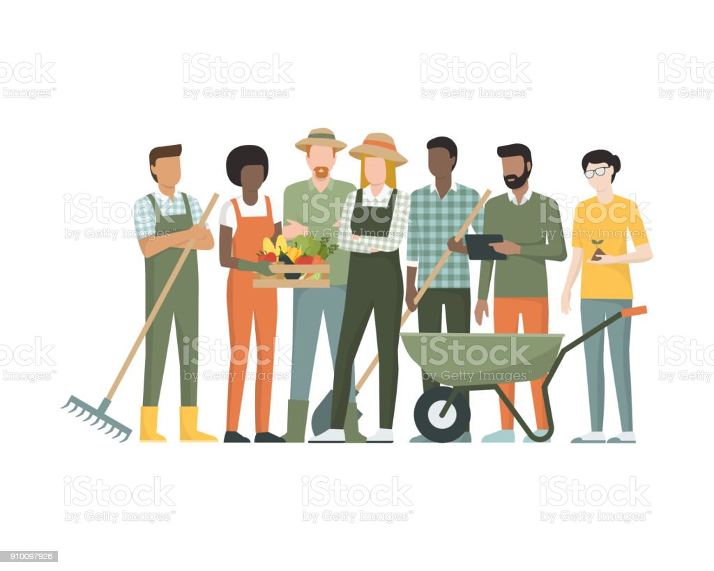 Group of farmers vector art illustration