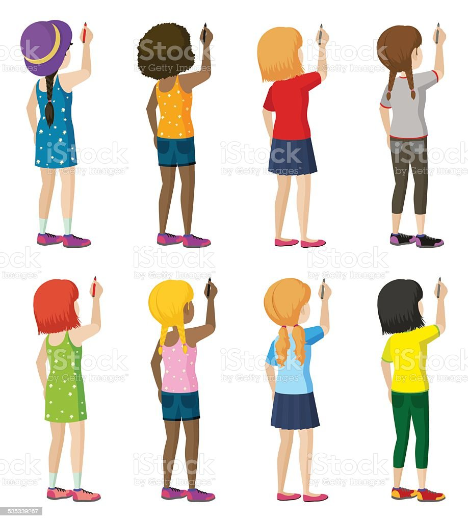 Group of female faceless kids writing vector art illustration