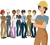 A vector illustration of group of professional women standing, with a waist up crop of a woman in the foreground. The cropped version of the woman was created using a clipping mask. To edit the mask, just right-click on the cropped woman and choose 'release clipping mask'. Professions represented include police, firefighters, doctors, construction workers, chefs, service industry employees, nurses, and so on. Download includes an AI10 vector EPS file, fully editable, as well as a high resolution RGB JPEG. No transparencies used.