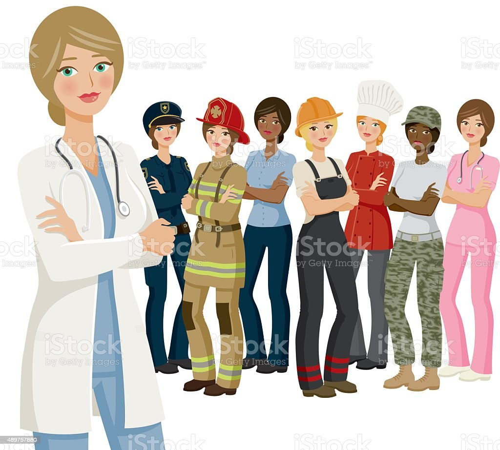 Group of Female Workers, Various Professions and Ethnicities vector art illustration