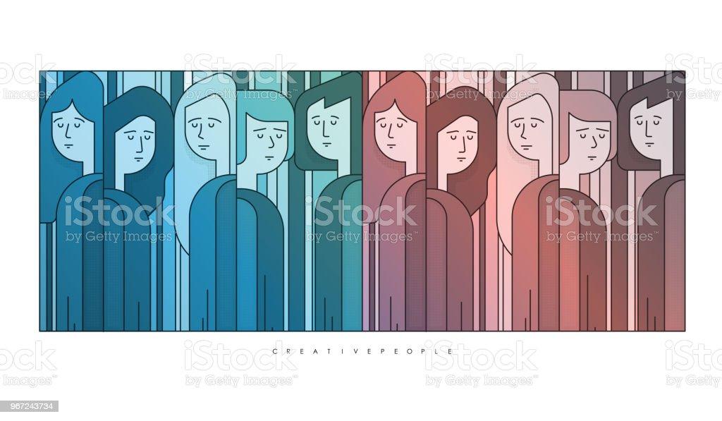 Gruppe Von Einigen Personen Abstrakte Kunstvektorillustration Comicfiguren Stock Vektor Art Und Mehr Bilder Von Abstrakt Istock