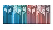 Group of few people, Abstract art vector illustration. Cartoon characters.