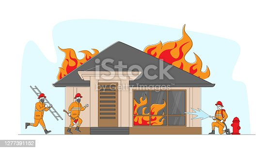 istock Group of Firemen Fighting with Blaze at Burning House. Characters Team in Firefighters Uniform Extinguish with Big Fire 1277391152