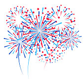 Group of fireworks elements for Independence day design