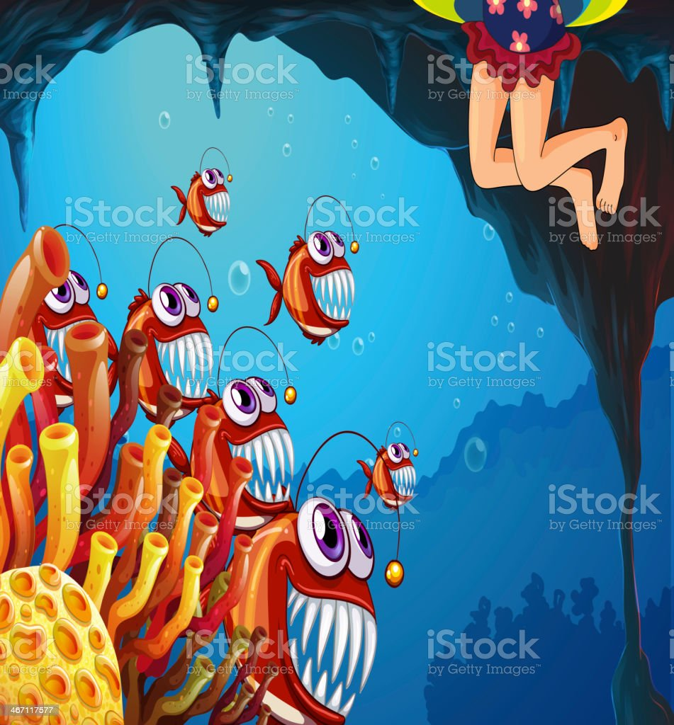 group of fish watching the young girl vector art illustration
