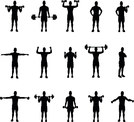 group of fitness silhouettes