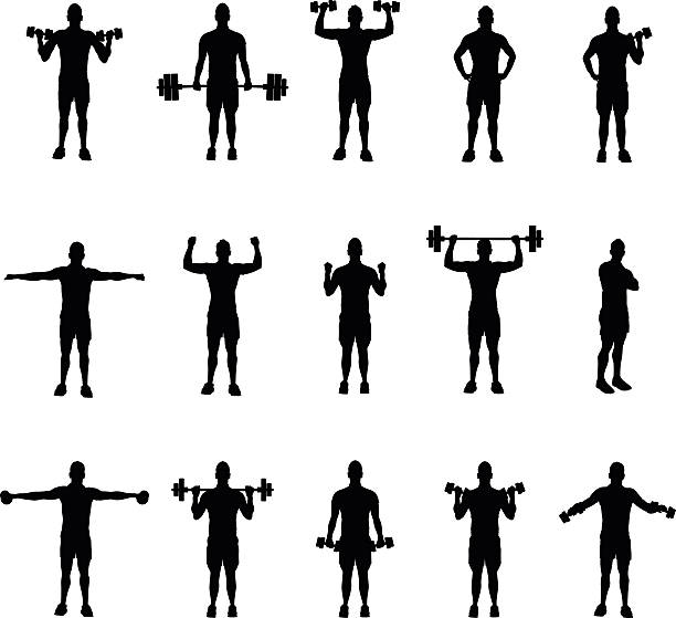 group of fitness silhouettes group of fitness silhouettes active lifestyle stock illustrations