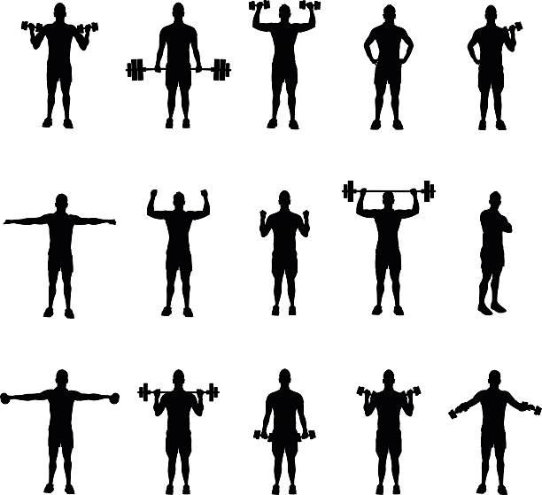 ilustraciones, imágenes clip art, dibujos animados e iconos de stock de group of fitness silhouettes - entrenamiento con pesas