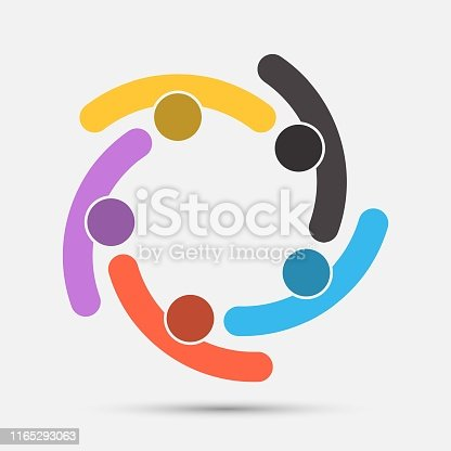 Group of five people in a circle.Teamwork meeting.people are meeting in the room.Powerful combined forces.