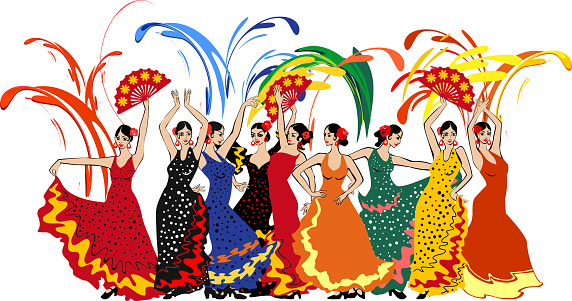 Group of flamenco dancers in colorful traditional spanish dresses and colorful fireworks isolated on white background