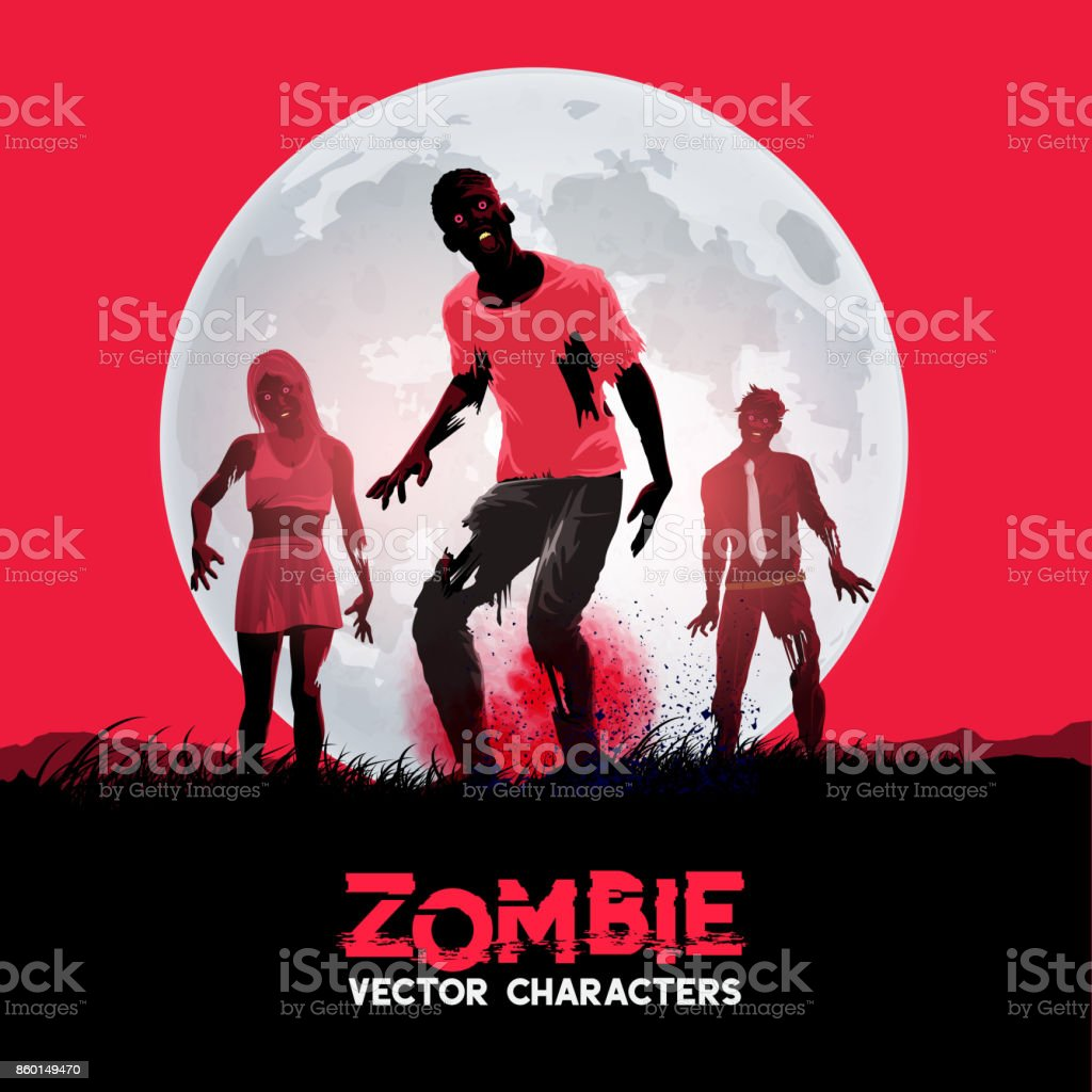A group of fleshing eating dead zombies vector art illustration