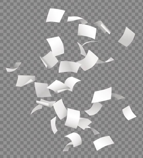 Group of flying or falling vector white papers isolated on transparent background Group of flying or falling vector white papers isolated on transparent background. mid air stock illustrations