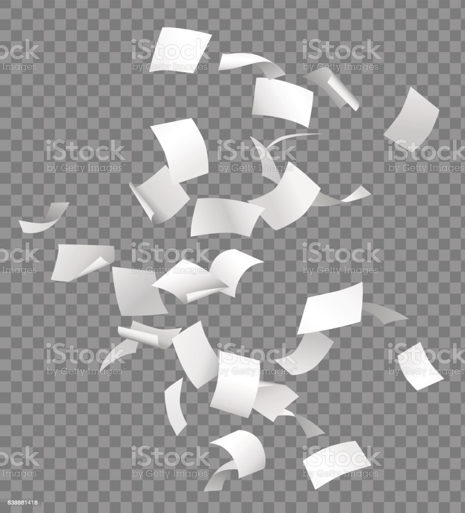 Group of flying or falling vector white papers isolated on transparent background vector art illustration