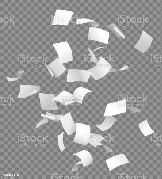 Group of flying or falling vector white papers isolated on transparent background.