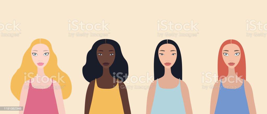 Group of four beautiful stylish cartoon woman characters...