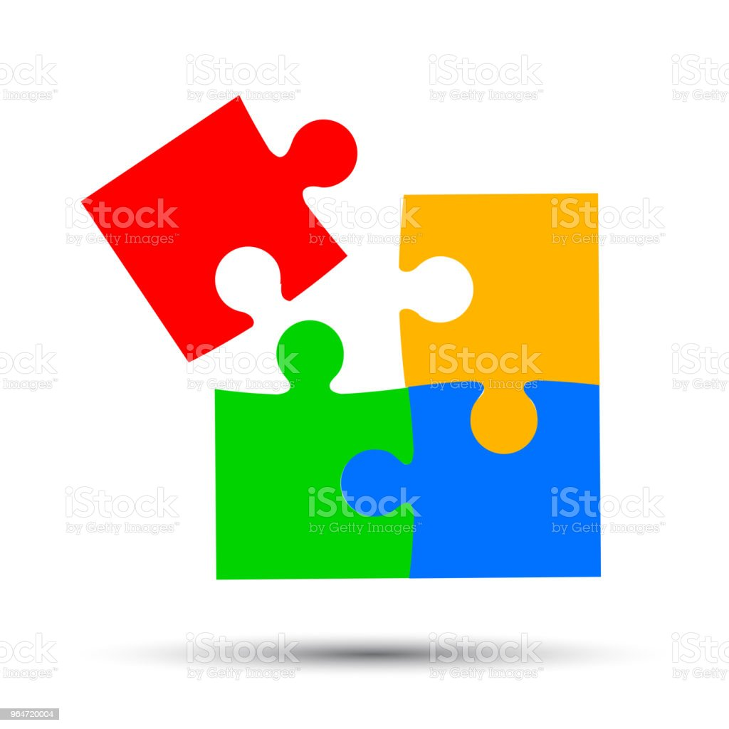 Group of four color puzzle, cooperation - stock vector royalty-free group of four color puzzle cooperation stock vector stock vector art & more images of backgrounds