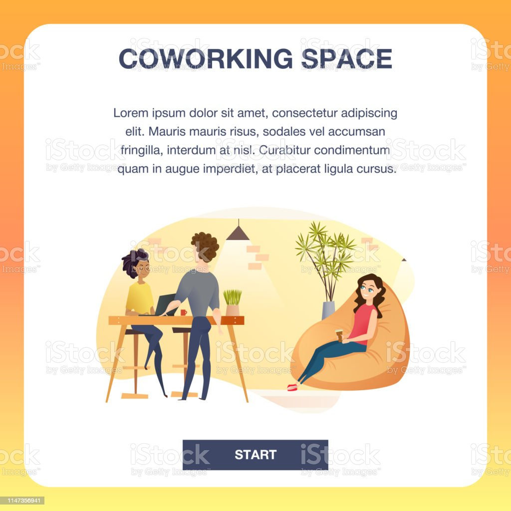 Group Of Freelancer In Coworking Space Banner Stock Vector