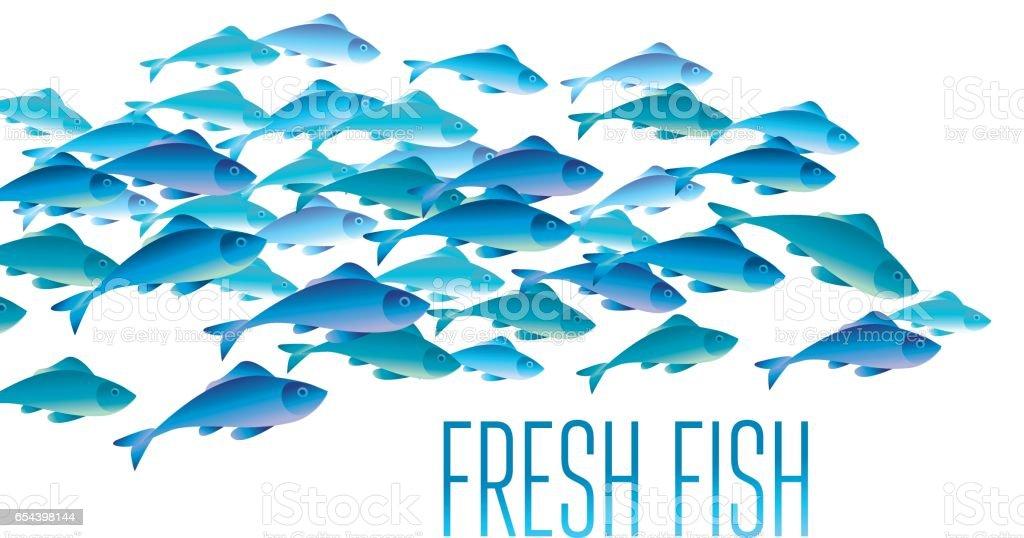 Groupe de poissons frais vector illustration d'en-tête, web, print, carte et invitation. Beaucoup de hareng ou de morue se déplaçant dans l'eau de mer. - Illustration vectorielle