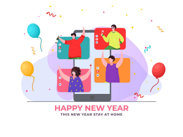 Group Of Friends Celebrating And Enjoying New Year On Video Call During Coronavirus, Stay At Home. vector art illustration
