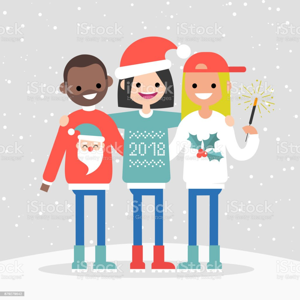 group of friends celebrating winter holidays christmas and new year characters wearing decorated sweaters