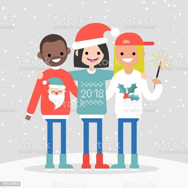 Group of friends celebrating winter holidays christmas and new year vector id879279542?b=1&k=6&m=879279542&s=612x612&h=yrkgv4jct2hobmvzt3mr6aodtqxlq8vnuh4qnmkn em=