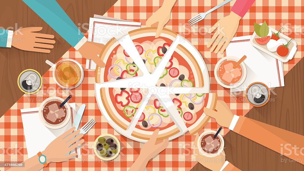 Groupe d'amis, manger des pizzas - Illustration vectorielle