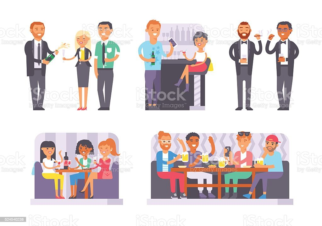 Group of friends enjoying evening drinks in bar alcohol people vector art illustration