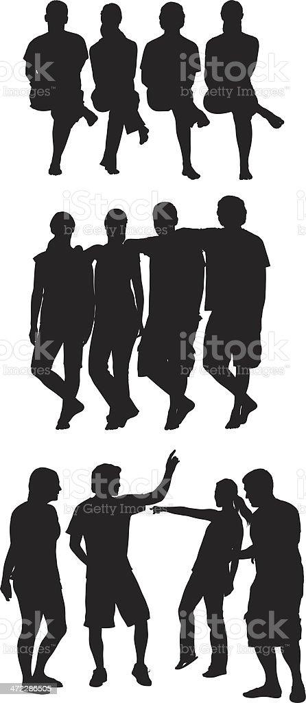Group of friends enjoying together vector art illustration