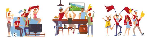 eine gruppe von freunden, fußball-fans für ihre lieblings-fußball-team jubeln. männer und frauen fußball im stadion, in der bar und zu hause im fernsehen anschauen. vektor-illustration. - fussball fan stock-grafiken, -clipart, -cartoons und -symbole