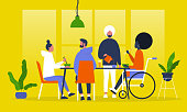 A group of friends having dinner. Asian food. Eating with chopsticks. Restaurant. Millennial lifestyle. Flat editable vector illustration, clip art