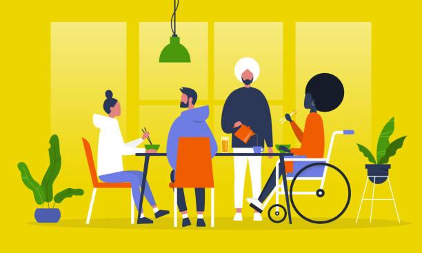 eine gruppe von freunden zu abend essen. asiatische küche. essen mit stäbchen. restaurant. tausendjährige lebensstil. flach bearbeitbares vektor-illustration, clipart - essen mund benutzen stock-grafiken, -clipart, -cartoons und -symbole