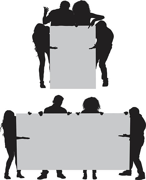 Royalty Free Group Of People Holding Signs Clip Art ...