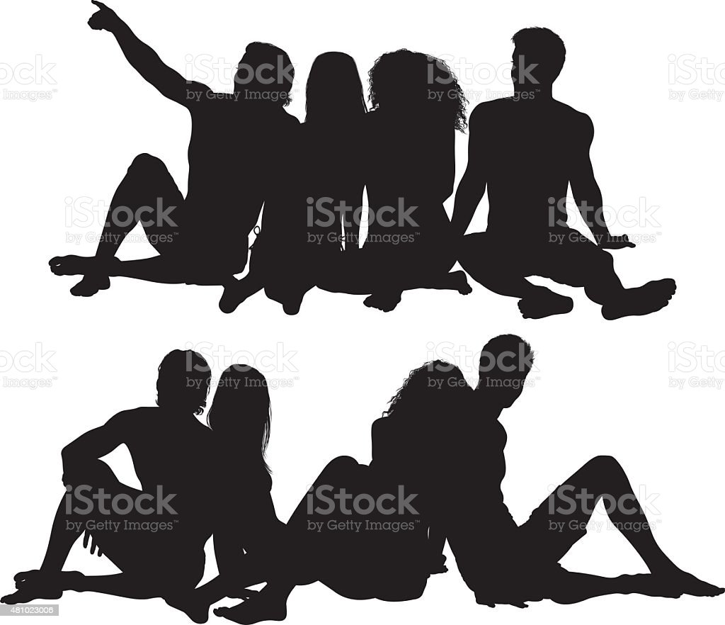 Gruppe von Freunden in Badebekleidung und Sitzbereich – Vektorgrafik