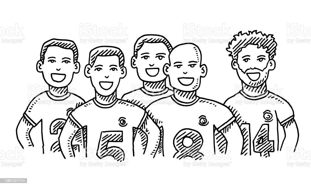 Ilustración De Grupo De Amigos Hombre Deporte Dibujo Del Equipo Y