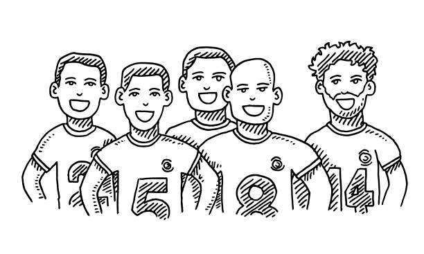 Group Of Friends Male Sport Team Drawing vector art illustration