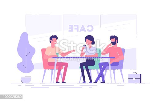 A group of friends or colleagues talking in a cafe. Flat vector illustration.